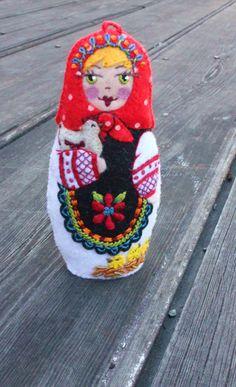 Matryoshka  Hand Embroidered Felt  With Hen by TheSnowQueensGarden, $38.50