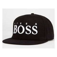 Boss Snapback Hat by REASON ❤ liked on Polyvore featuring accessories, hats, snapback hats and snap back hats