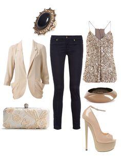 blazer, sparkle top, straight legs, nude pumps
