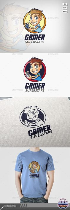 Gamer Guy Logo Template - Humans Logo Templates