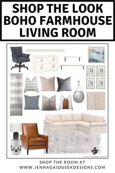 Shop the look! Order everything in this room and get more furniture and decor options ready for you to order and start designing your boho farmhouse living room! Click the link to shop the room! Boho Decor, slipcovered sectional, family friendly living room, family friendly furniture, leather recliner, Modern Farmhouse, online interior design, Apartment Therapy, Boho Decor, pottery barn sectional,  boutique rugs, Farmhouse Decor, Living Room Decor, Fixer Upper Style,  Farmhouse Style,