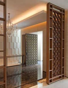 Please Visit 36 Cool Modern Living Room Divider Design Post to Read Full Article. Room Partition Wall, Living Room Partition Design, Pooja Room Door Design, Room Partition Designs, Living Room Divider, Room Divider Doors, Apartment Interior, Room Interior, Jaali Design