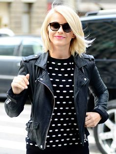 """""""I love a good short leather jacket because that goes with everything,"""" Julianne Hough explains."""