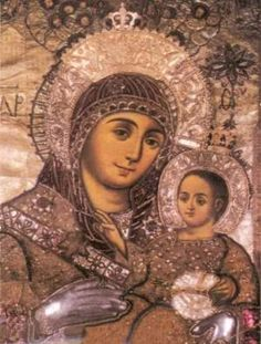 The miraculous icon of the Panagia Bethlehemitissa (Παναγίας της Βηθλεεμίτισσας), or Panagia of Bethlehem, is located in the Basilica of th. Queen Of Heaven, Catherine The Great, Orthodox Christianity, Christian Faith, Mona Lisa, Artwork, Nativity, Cave, Dios