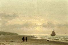 Johannes Josephus Destrée (1827-1888) Het strand bij zonsondergang. (Coll. Christies.com)