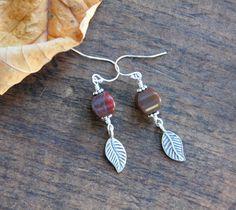 Leaf earrings, jasper earrings, stone earrings, fall jewelry, everyday jewelry jasper leaf earrings, red jasper stones, sterling silver by HollyMackDesigns on Etsy