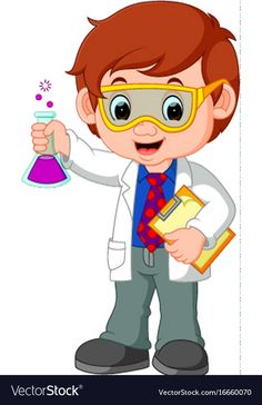 Scientist or professor holding flask Royalty Free Vector Urdu Stories For Kids, Moral Stories For Kids, Scientist Cartoon, Science Clipart, Science Classroom Decorations, Kids Cartoon Characters, Science Room, School Murals, Cartoon Fish