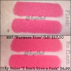 "DupeThat swatches of City Chic Lipstick ""I don't give a Puck""  IMG_5095.JPG (JPEG Image, 1600 × 1600 pixels) #citycolorcosmetics"
