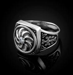 Sterling Silver Armenian Eternity Mens Khachkar Cross CZ Ring