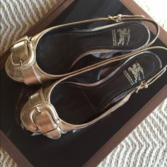 Burberry gold sling back flats Great addition to any shoe collection.  Wear it for Spring, summer or fall. Burberry Shoes Flats & Loafers