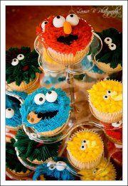 Sesame street cupcakes elmo cookie monster big bird