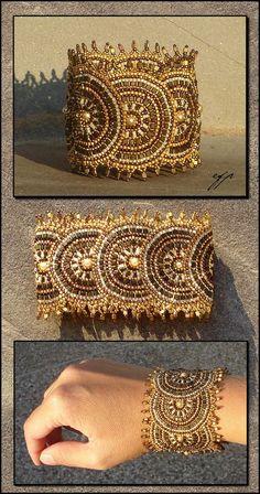 Brick stitch fan bracelet