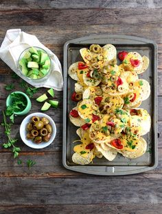 A savory snacks recipe upgraded with our signature spicy-sweet peppers and flame-kissed Piccante Olives. You haven't had nachos like this! Game Day Snacks, Game Day Food, Olive Recipes, Italian Recipes, Easy Recipes, Yummy Appetizers, Appetizer Recipes, Party Appetizers, Drink Recipes
