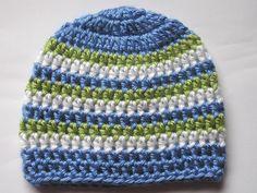 crochet baby hat pattern boy   Newborn Baby Boy Beanie - Blue/Green/White