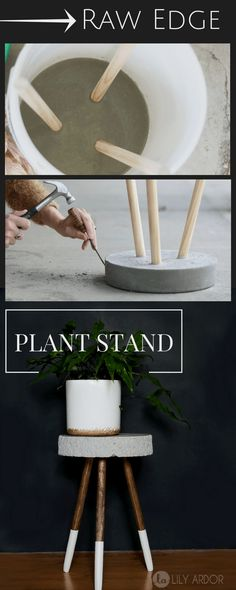 Modern Furniture Raw edge concrete plant stand - DIY - >> TUTORIAL (Diy Decoracion instructions, # i Easy Home Decor, Handmade Home Decor, Cheap Home Decor, Diy Decorations For Home, Handmade Ideas, Wedding Decorations, Diy Décoration, Easy Diy, Simple Diy