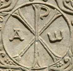 The Chi-Rho, a monogram of the first two letters of the Greek word for Christ.One of the first monograms Types Of Lettering, Hand Lettering, Chi Rho, Greek Words, Coins, Monograms, Faith, Blogging, Letters