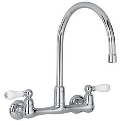 American Standard 7293.252.002 Heritage Wall-Mount Gooseneck Kitchen Faucet with Porcelain Lever Handles, Chrome  $138.40