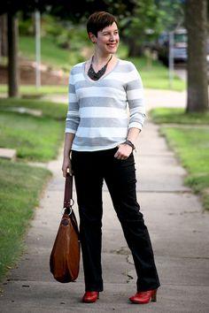 9a3d7123895d Already Pretty outfit featuring striped v-neck sweater