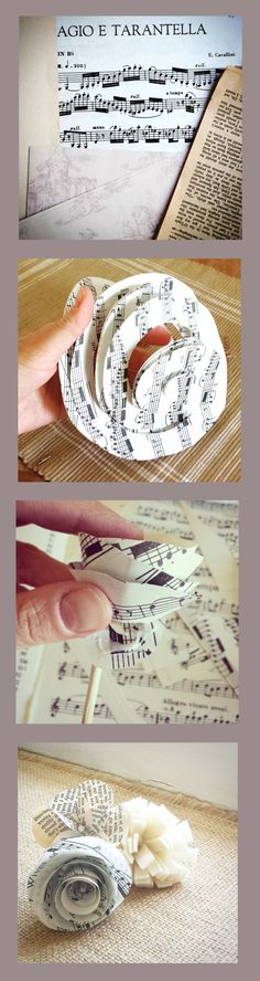 How to make paper flowers from sheet music.