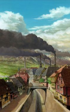 ✮ ANIME ART ✮ anime scenery. . .city. . .buildings. . .rail road. . .train tracks. . .factories. . .smoke pipes. . .mountain. . .sky. . .clouds. . .perspective. . .amazing detail. . .kawaii