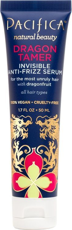 Pacifica's Dragon Tamer Invisible Anti-Frizz Serum Tames your beautiful locks (but still stay wild). Smooth frizz, soften, repel pollution and deliver a radiant shine to all hair types. Infused with dragon fruit, it's a fierce force against frizz.