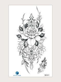 Mandala Flower Tattoos, Flower Tattoo Drawings, Tattoo Design Drawings, Tattoo Sketches, Sunflower Mandala Tattoo, Rose Tattoos, Body Art Tattoos, Hand Tattoos, Sleeve Tattoos
