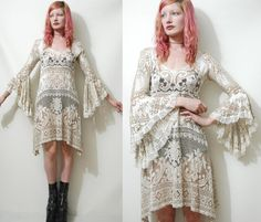 Vintage LACE DRESS Bohemian Handmade Flared Bell by cruxandcrow