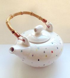 Raindrop Ceramic Teapot | Bedecked with a multitude of cheery, hand-painted raindrops, t... | Coffee & Tea Pots