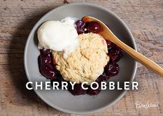 In a small bowl, toss 4 cups pitted cherries with ½ cup sugar, 3 tablespoons cornstarch and 1 teaspoon pure vanilla extract. In a medium bowl, whisk 2¼ cups all-purpose flour, ⅓ cup brown sugar, 1¼ teaspoons baking powder, ½ teaspoon baking soda and a pinch of salt to combine; add 6 tablespoons melted butter, ⅔ cup buttermilk and 1 beaten egg, & mix until a smooth batter forms. Pour the cherries into the slow cooker & top with scoops of batter. Cook on high for 2 to 2 1/2 hrs. serve w/ice…