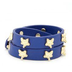 Mini Fox Leather Bracelet  - Navy