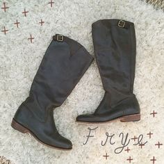 saleFrye riding boots Frye 'Dorado Inside Zip 77578'- Dark Brown. Women's size 6. Made in Spain. Fits to right below knee. Timeless, elegant smooth brown leather, inside zipper and 1 inch block heel. Leather upper, leather sole. Favorite boot of mine, the quality is unbelievable. Only wore these maybe 2-4 times in the time I have had them, soles and leather all around in excellent shape. Boot still selling online and in boutiques for approx $400+. Frye Shoes Heeled Boots