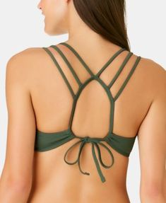 California Waves Juniors' Ribbed Strappy Back Bralette Top, Available in D/Dd, Created for Macy's - Green XS Bralette Bikini, Bralette Tops, Dress Neck Designs, Blouse Designs, Cut Clothes, Plus Size Activewear, Modern Outfits, Dresses With Leggings, Braid Styles