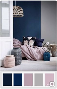 Pink and blue bedroom navy blue mauve and grey color palette color inspiration pink blue white bedroom Living Room Color Schemes, Home Bedroom, Living Room Decor, Home Decor, Living Room Grey, Bedroom Decor, Bedroom Colors, Remodel Bedroom, Bedroom Color Schemes