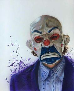 regram Clown mask Joker airbrush and colored pencil piece by artist Joker Images, Joker Pics, Joker Art, Batman Art, Gotham Batman, Joker Dark Knight, Joker Clown, Clown Mask, Batcave