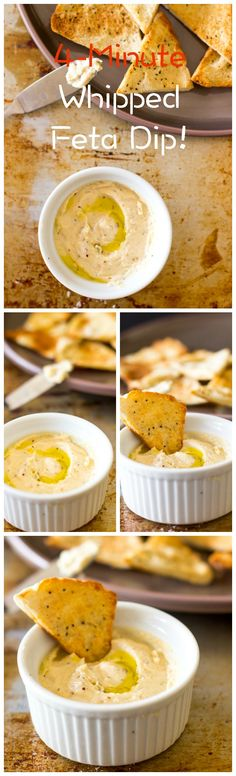 This whipped feta dip is so creamy, tasty and has a delicious hint of spice! Top it off with garlic pita chips and you've got a perfect party snack!
