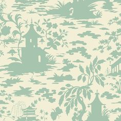 Asian Scenic from Silhouettes by Ashford House is a cream wallpaper with a green oriental toile silhouette. Scenic Wallpaper, Toile Wallpaper, Wallpaper Stores, Chinoiserie Wallpaper, Embossed Wallpaper, Pattern Wallpaper, Cream Wallpaper, Forest Wallpaper, Ashford House