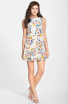 CeCe by Cynthia Steffe Floral Print Drop Waist Dress (Regular & Petite) available at #Nordstrom