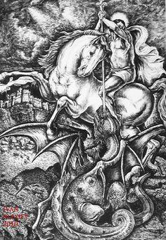 George and the Dragon. Patron Saint Of England, Saint George And The Dragon, Post Apocalyptic Art, Full Sleeve Tattoo Design, Beautiful Drawings, Dark Fantasy Art, Monster, Sleeve Tattoos, Art Reference