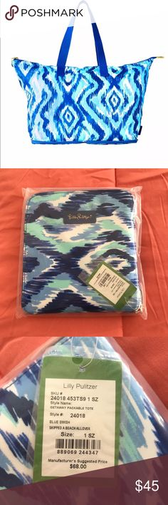 Lilly Pulitzer getaway packable tote NIP Brand new in unopened package. Lilly Pulitzer getaway packable tote in skipped a beach all over.   CP475 Lilly Pulitzer Bags Totes