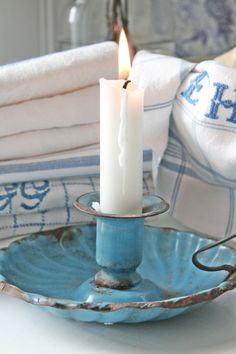 Calm and coastal turquoise candle holder