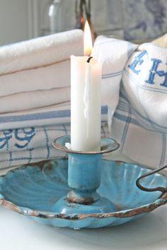 Calm and coastal turquoise candle holder