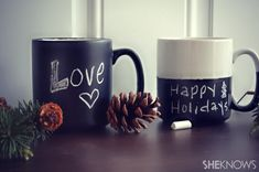 Do it Yourself chalk board mugs...such a great gift easy and cheappp :)
