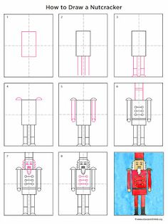 Art Projects for Kids: How to Draw a Nutcracker. Final product is great! Every child had a fabulous nutcracker! Christmas Art Projects, Christmas Arts And Crafts, Winter Art Projects, Projects For Kids, Draw Tutorial, 3rd Grade Art, Second Grade, Kindergarten Art, Kindergarten Christmas