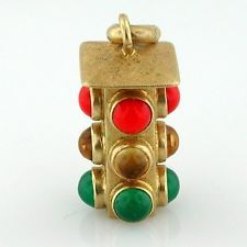 Jeweled Traffic Stop Light 18K Gold 3D Vintage Charm