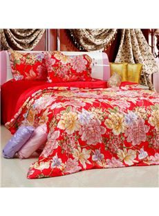 Luxurious Red Color Peony Print Mulberry Silk Soft Bedding Set http://www.casasilk.com/product/10912518.html