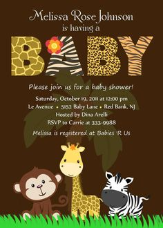 Like the look of the baby animals. Personalized  Animal Safari Jungle Baby Shower by theprintfairy, $12.99
