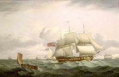 "Luny Thomas - ""Indiamen, a cutter and lugger in choppy seas"""