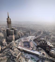Saudi Arabia. Aerial Photo of Masjid al-Haram and Abraj al-Bait, Mecca