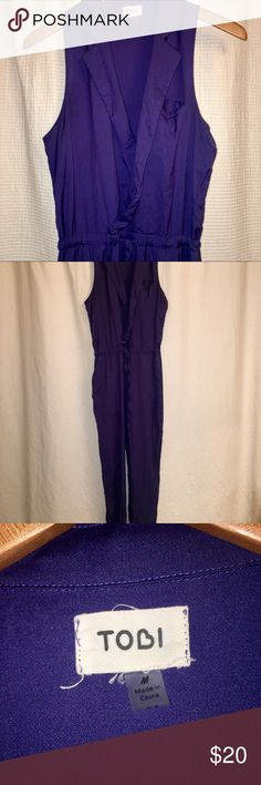 Blue Drawstring Jumpsuit Blue drawstring sleeveless jumpsuit from Francesca's. Only worn twice. Size Medium. Straight leg pant. Francesca's Collections Pants Jumpsuits & Rompers