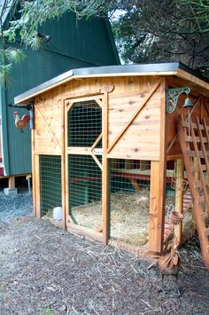 Our new chicken coop.  This was made from cedar, is about 8x8 and has 10 nesting boxes.  There is a flap behind so we can access the eggs.  We also recently added an area to the back so we can store wood chips, hay, feed etc...  The chickens love it!